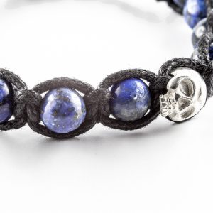 Bracelet macramé noir lapis bleu The Party Line