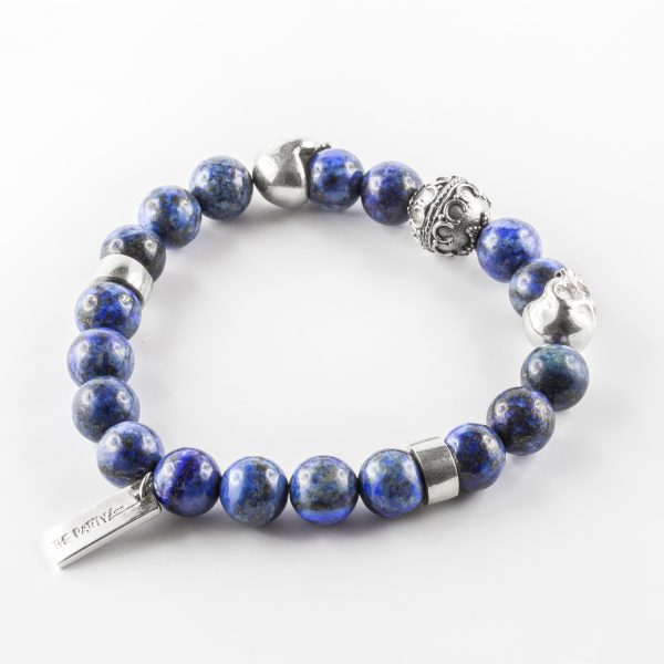 Bracelet lapis lazuli tête de mort The Party Line