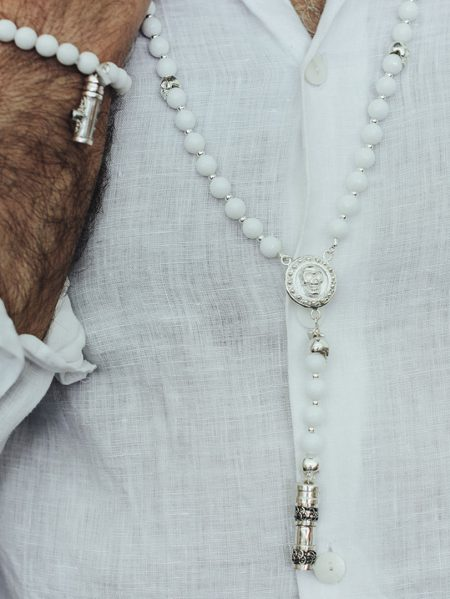 Collier Homme The Party Line quartz blanc et argent skull