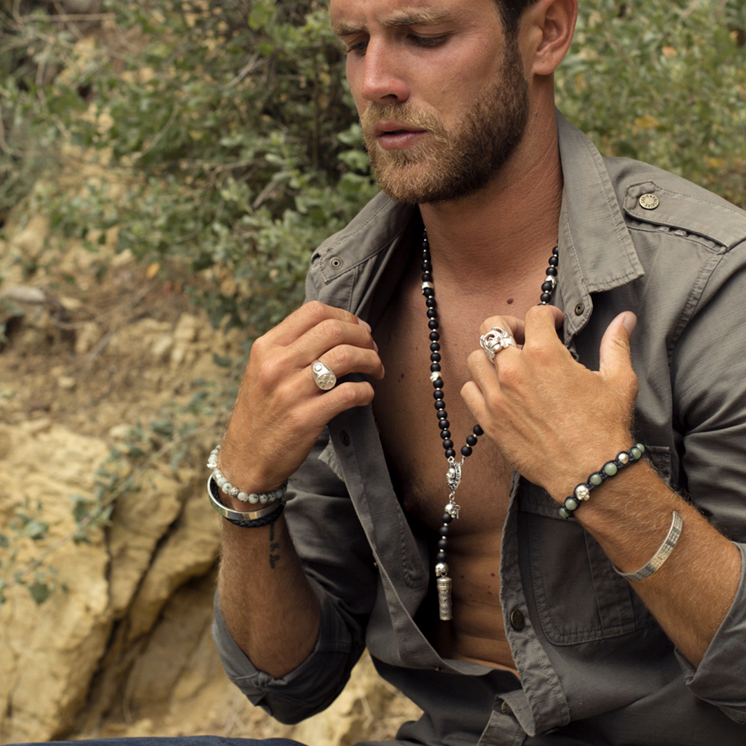 Collier Homme The Party Line onyx et argent skull