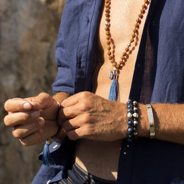 Bracelet homme The Party Line perles de Lapis bleu