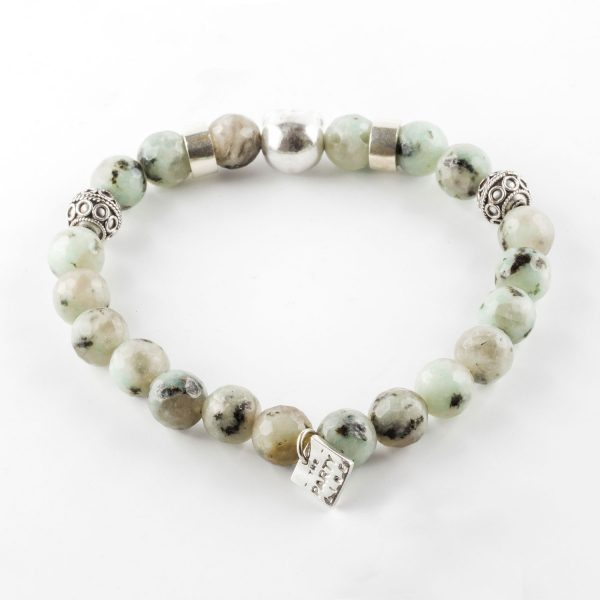 Bracelet perles Amazonite élastique The Party Line