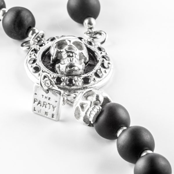 Collier Homme The Party Line onyx et argent skullCollier Homme The Party Line onyx et argent skull